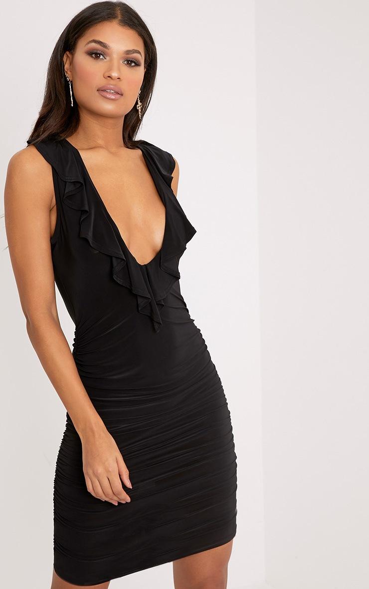 Verena Black Ruched Frill Detail Plunge Midi Dress 1