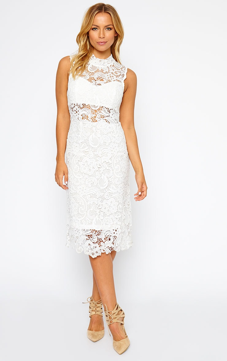 Lena White Lace Midi Dress 1
