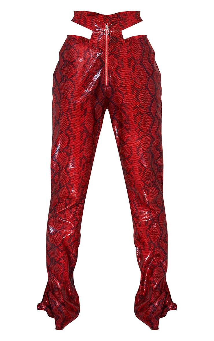 Red Snake Print Faux Leather Zip Front Cut Out Hip Straight Leg Pants 5
