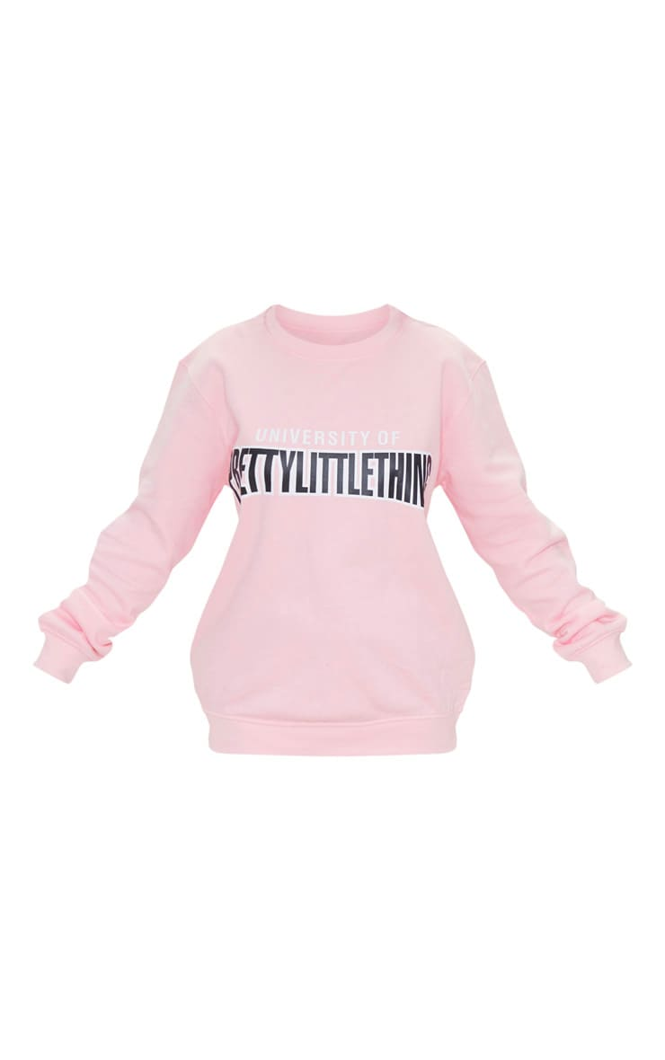 Petite - Pull rose tendre à slogan 'University Of PrettyLittleThing'  5