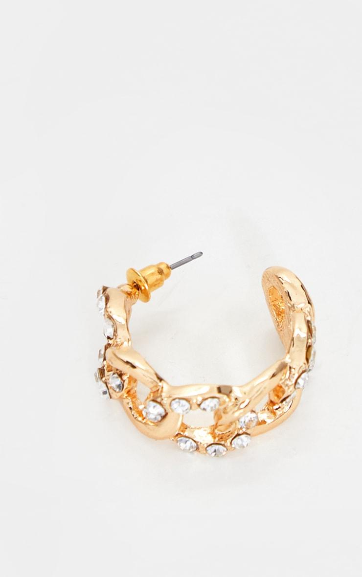 Gold Diamante Chain Hoop Earrings 3