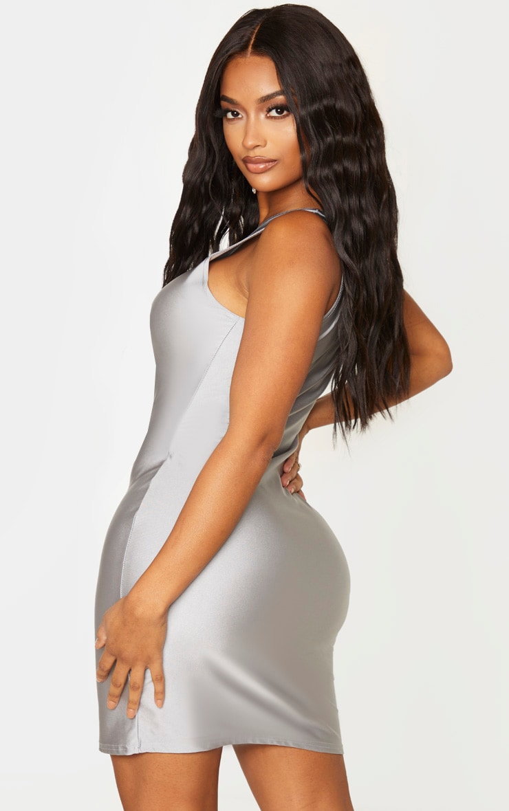 Shape Silver Disco One Shoulder Bodycon Dress 2