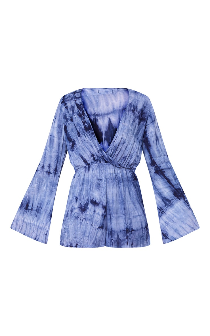 Esmey Blue Tie Dye Wrap Playsuit  3