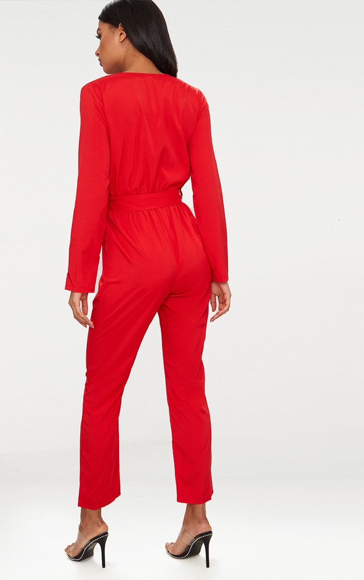 Red O Ring Zip Utility Jumpsuit 2
