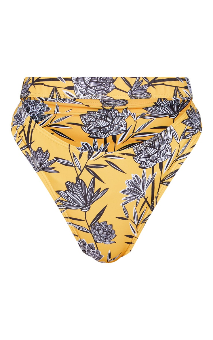 Yellow Floral Elasticated Cut Out Bikini Bottoms 7