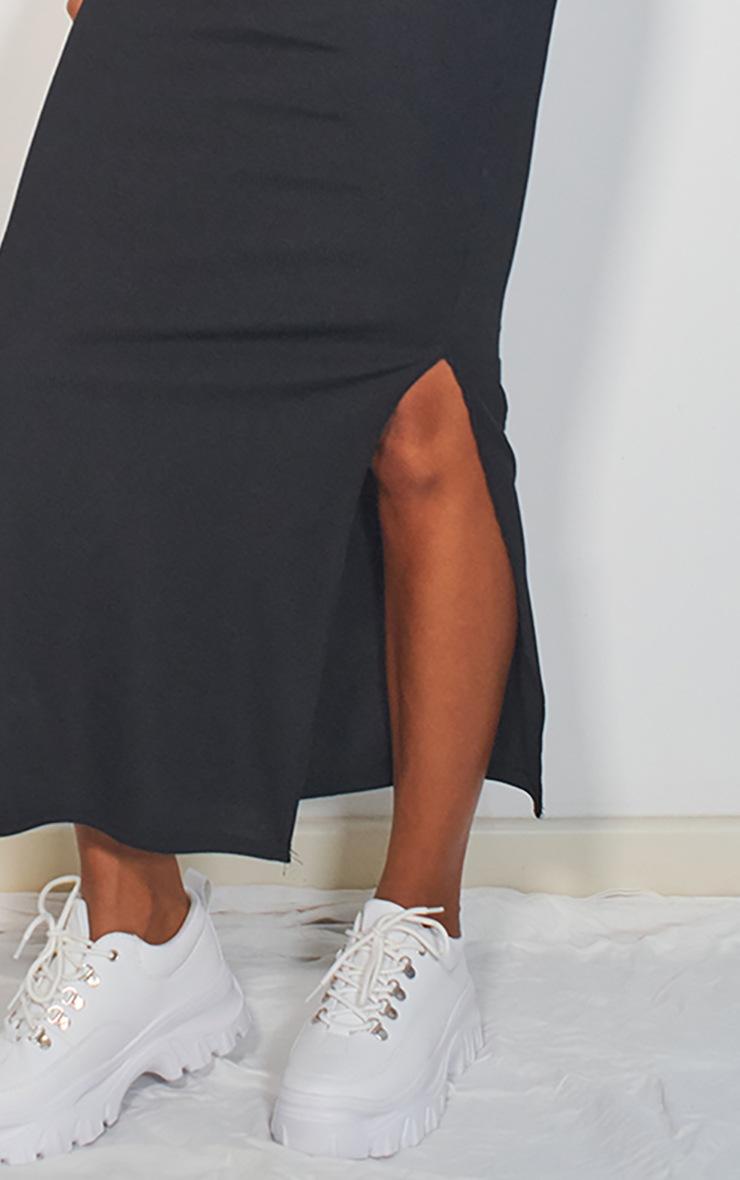 Black Rib Split Hem Maxi Skirt 4