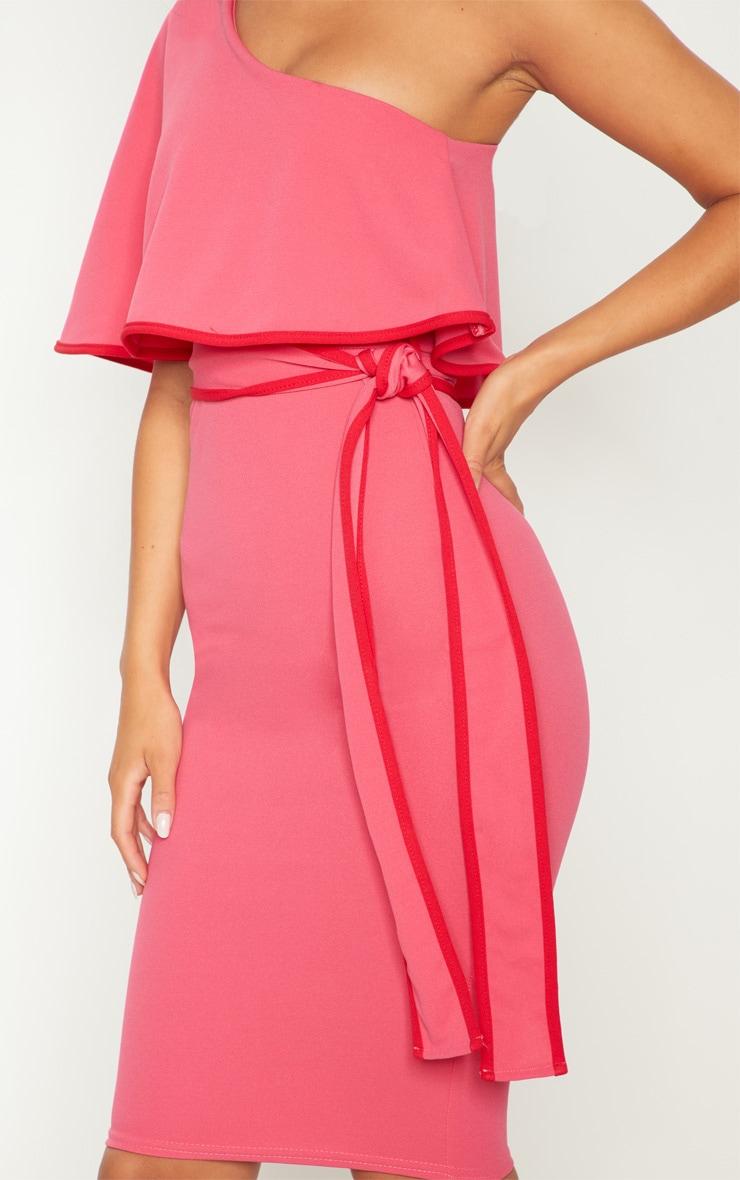 Pink One Shoulder Binding Detail Midi Dress 5