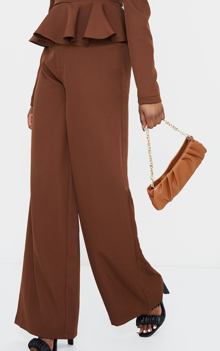 Chocolate High Waisted Woven Wide Leg Pants 2