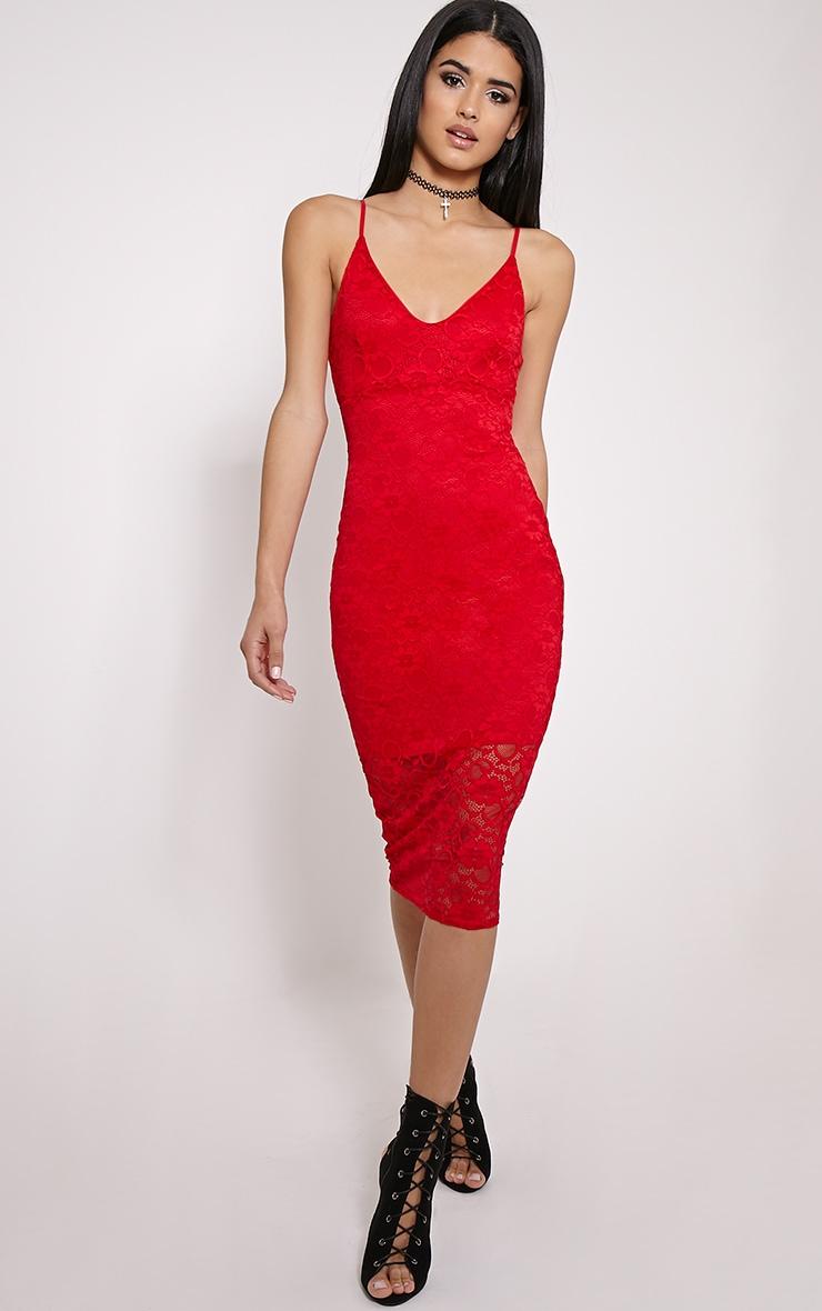 Adira Red Lace Midi Dress 4