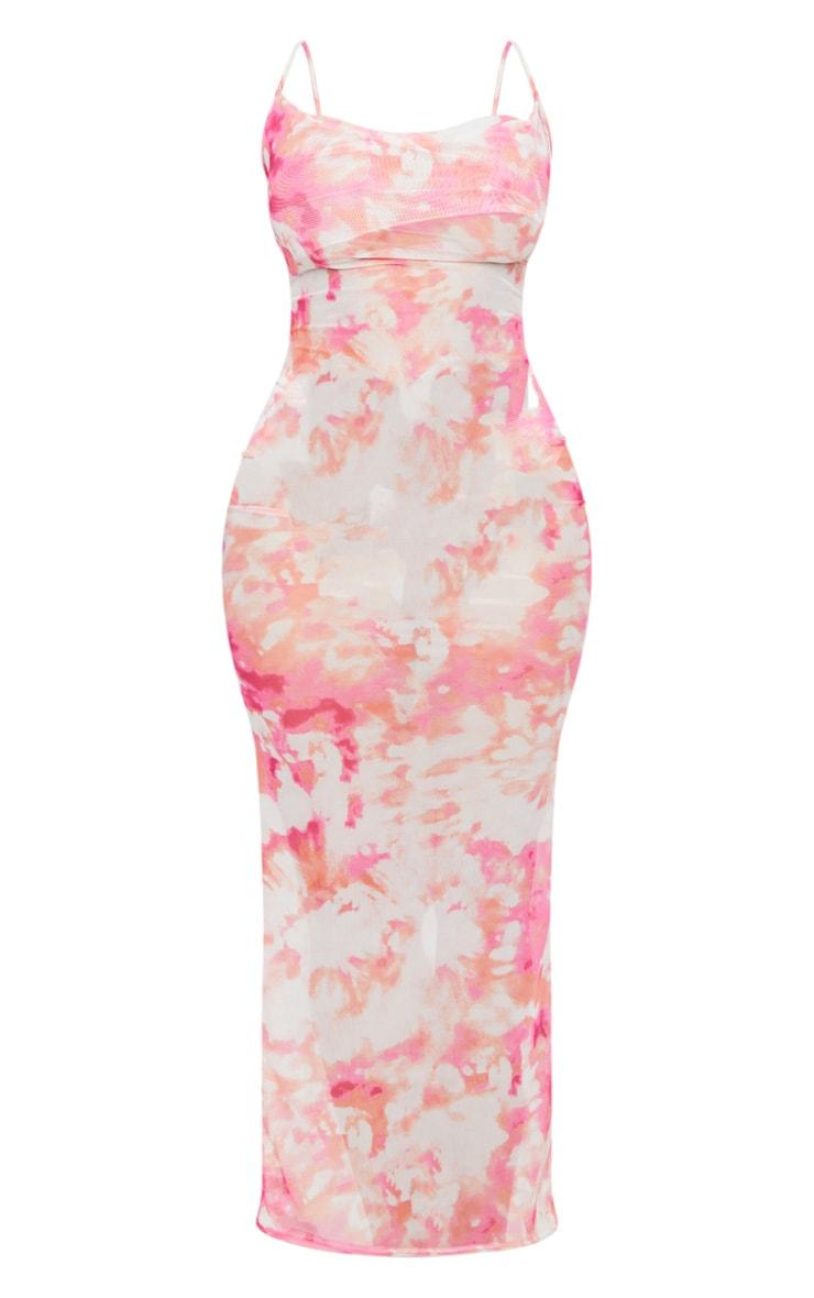 Shape Pink Tie Dye Mesh Cowl Neck Maxi Dress 5