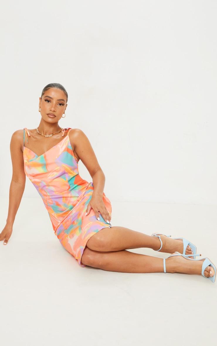 Orange Abstract Print Cowl Neck Tie Strap Midi Dress 3