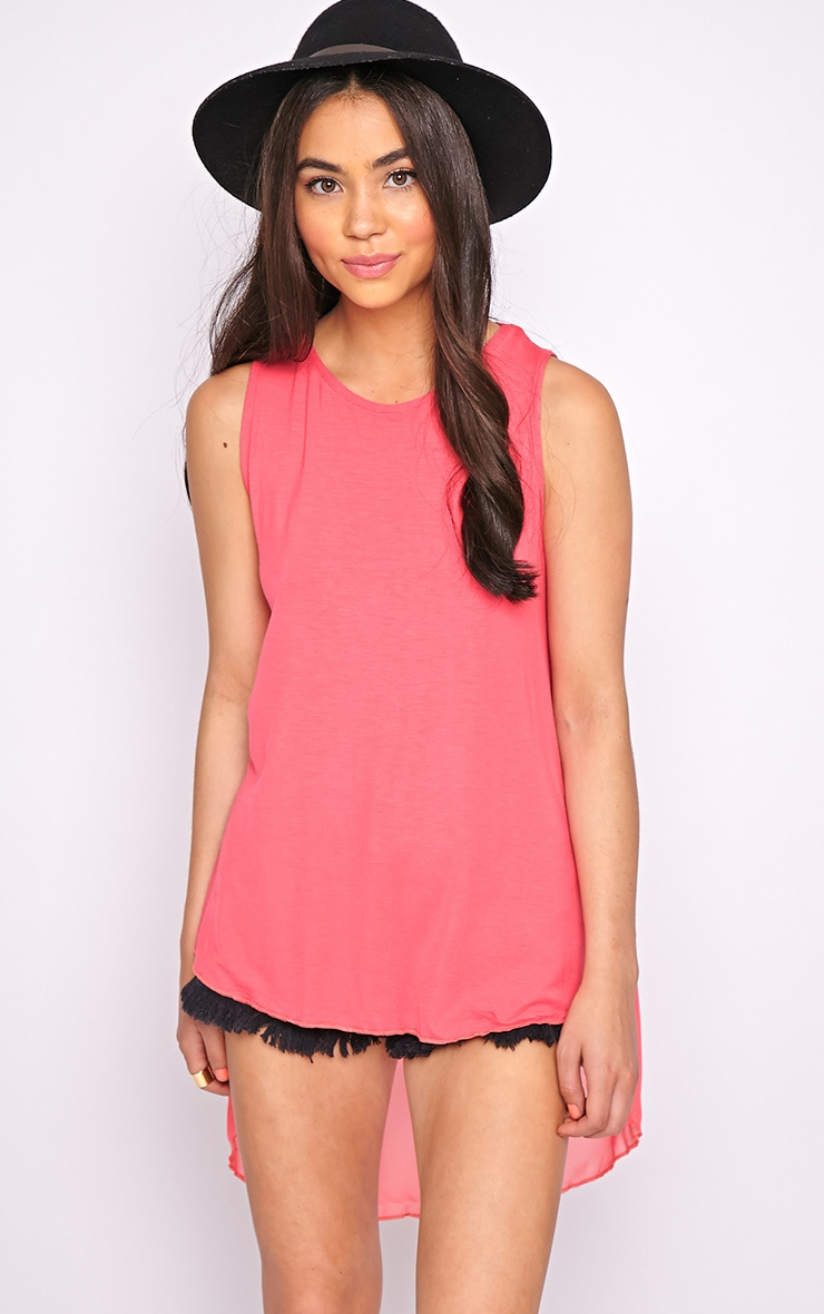 Malikah Fuschia Dip Hem Top With Sheer Back 4
