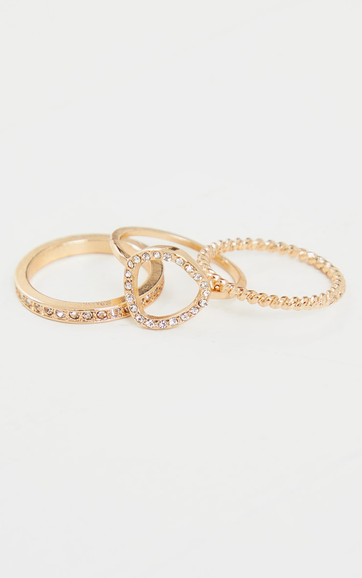 Gold Diamante Assorted Three Pack Rings 3