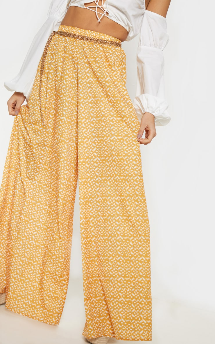 Mustard Aztec Extreme Wide Leg Floaty Pants 5