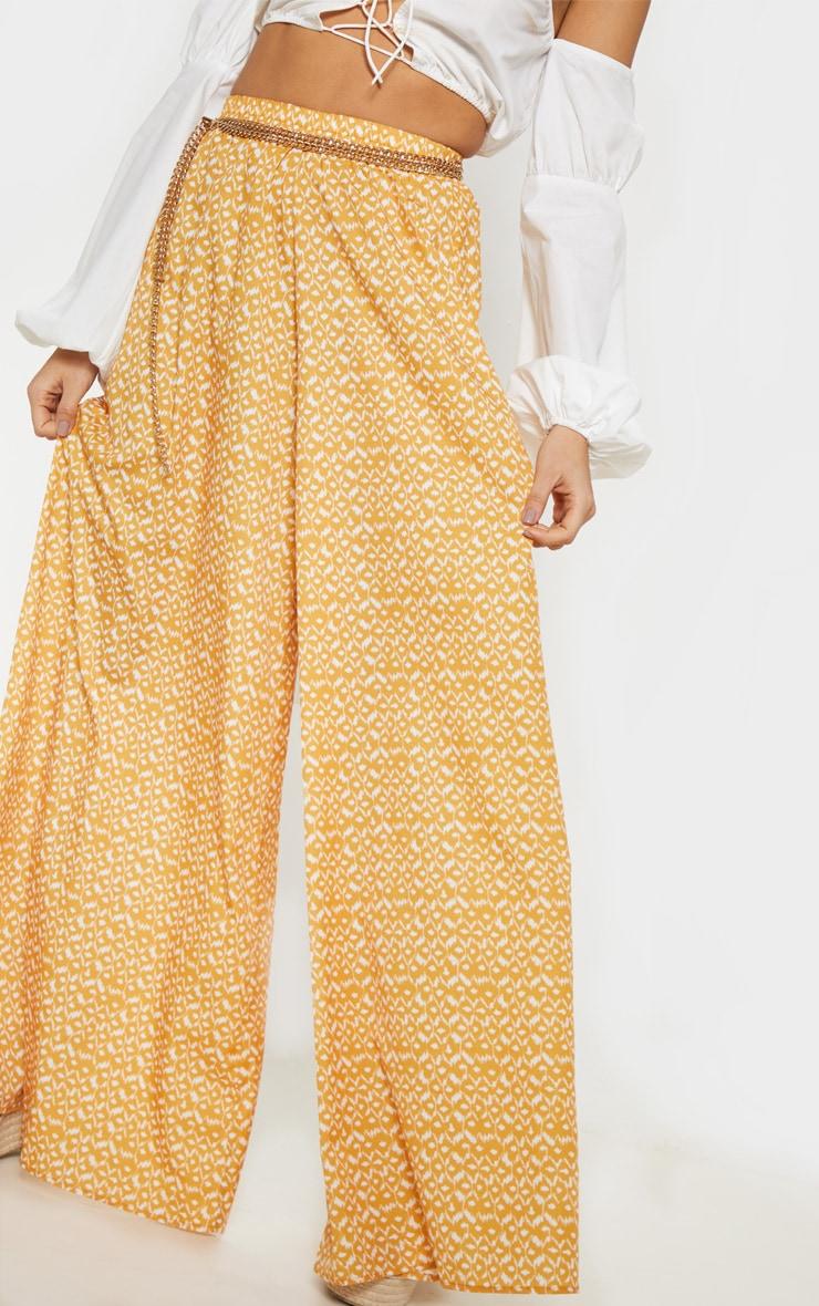Pantalon moutarde imprimé aztèque fluide très ample 5