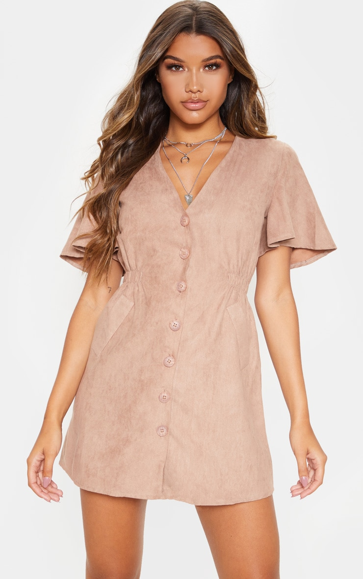 Taupe Faux Suede Button Front Shirred Side Shift Dress 1