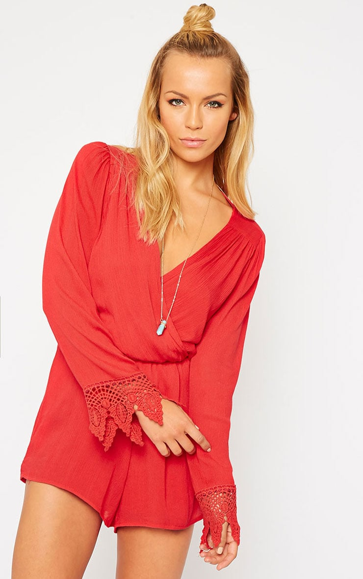 Marketta Red Wrap Front Crochet Cuff Playsuit 1