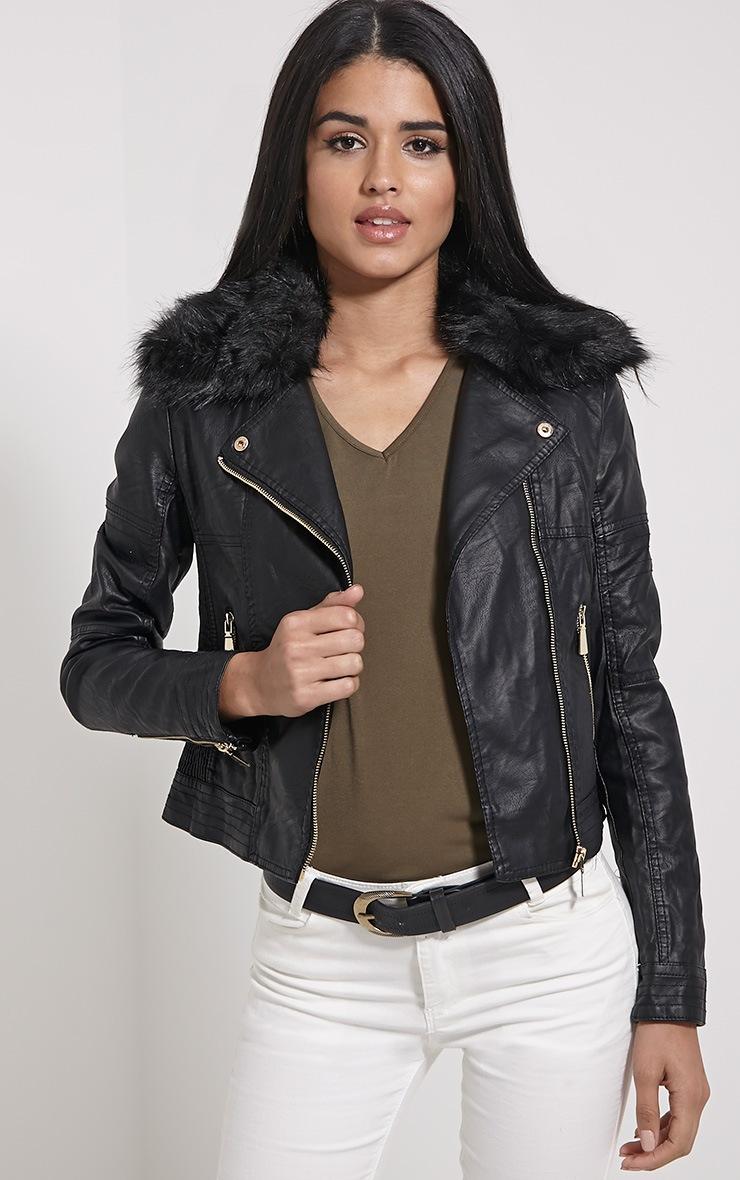 Darla Black Faux Fur Biker Jacket 1