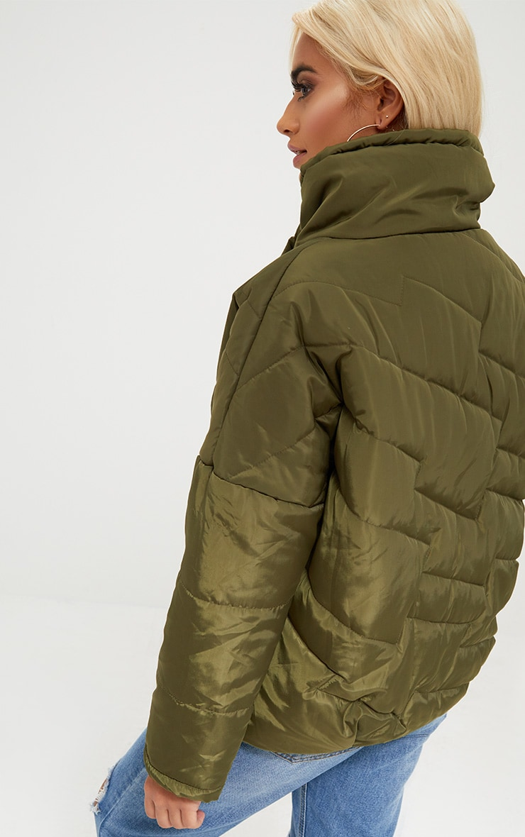 Petite Khaki Cropped Puffer Jacket with Front Pockets 2