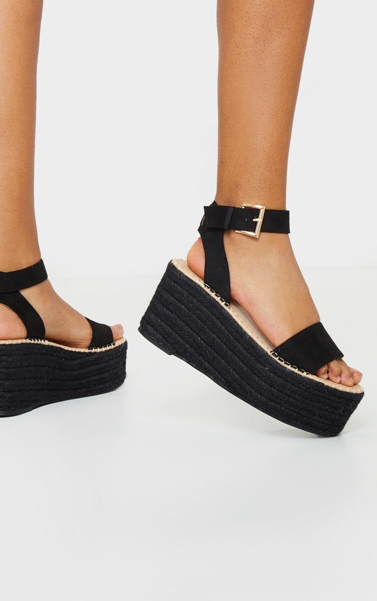 Black Buckle Ankle Strap Flatform Espadrille Sandals 2