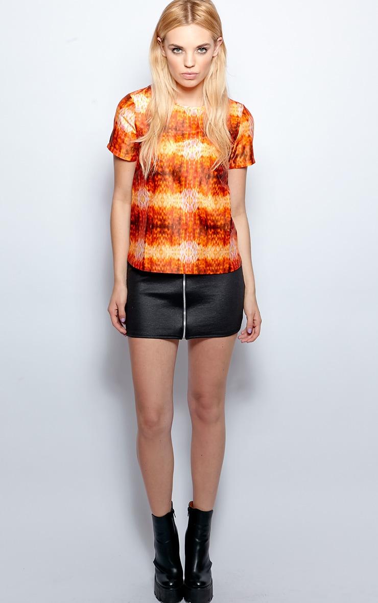 Kyra Orange Burn Out Satin Top  3