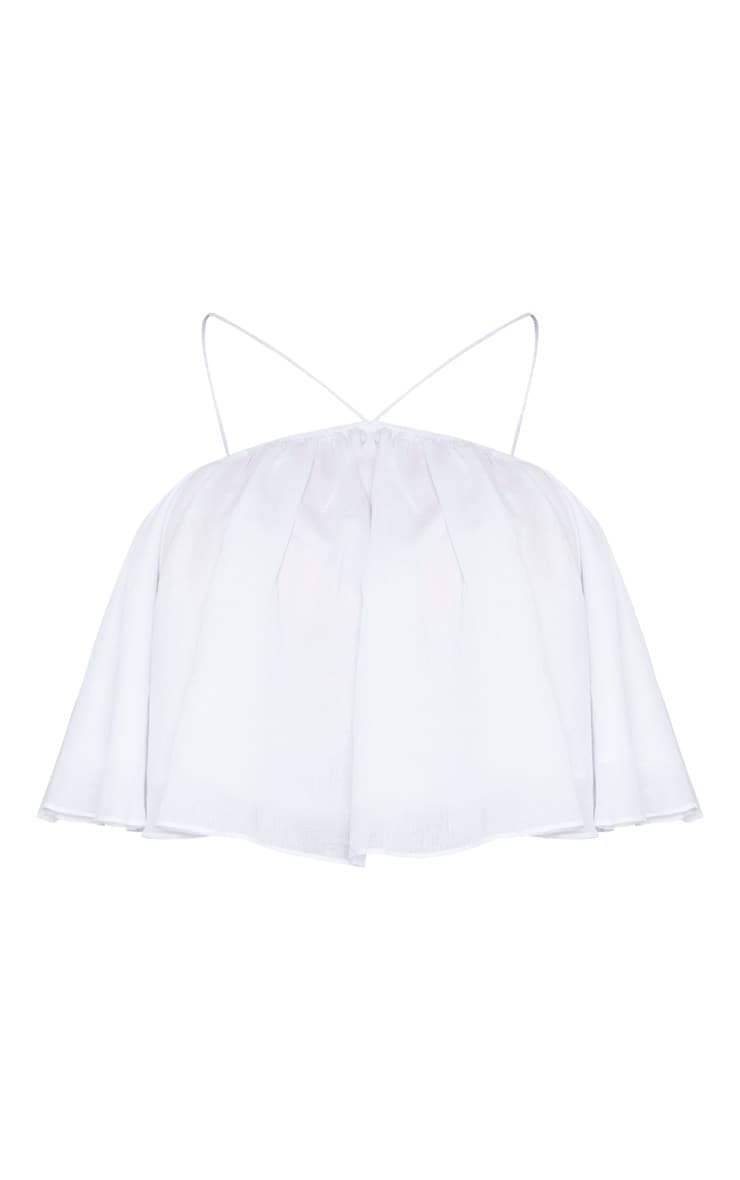 Plus White Woven Strappy Floaty Crop Top  3