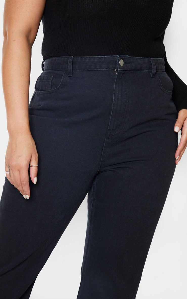Plus Black High Waist Flared Jeans 5