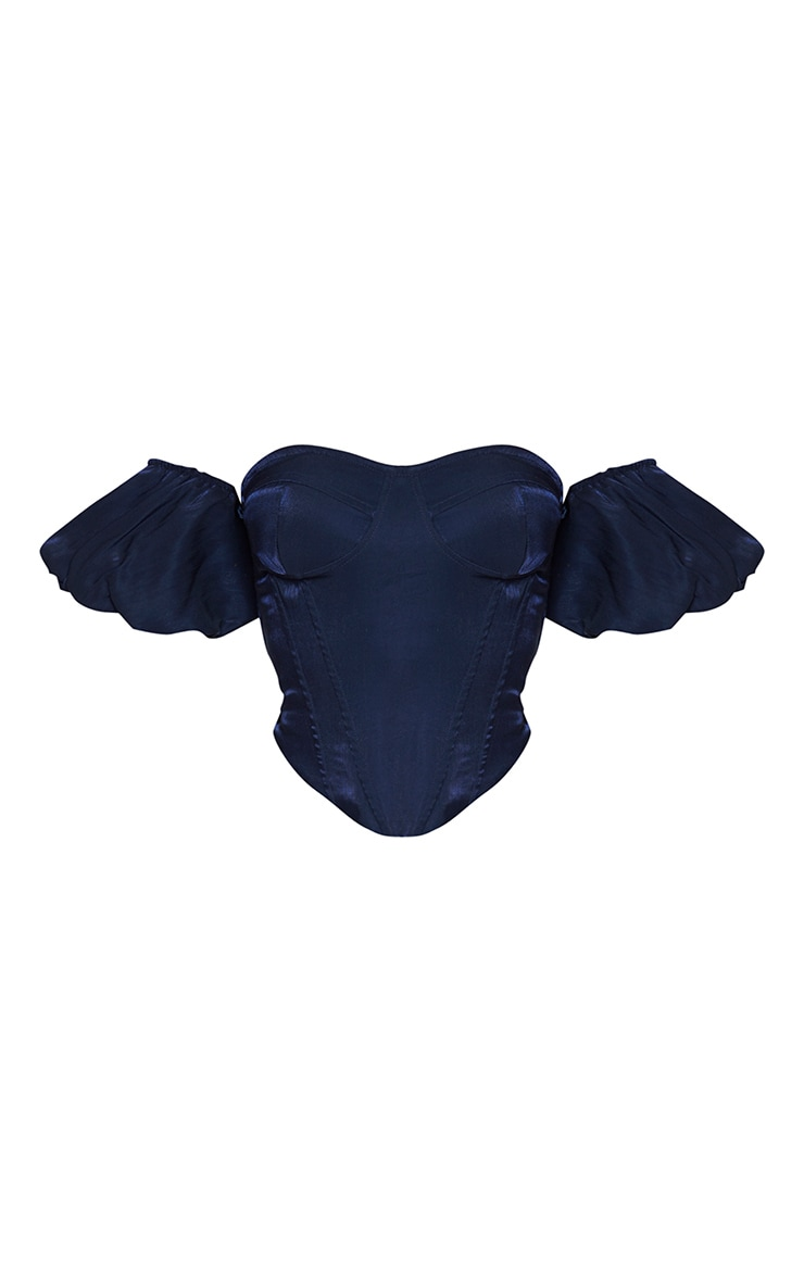 Navy Woven Bardot Short Puff Sleeve Corset Top 5