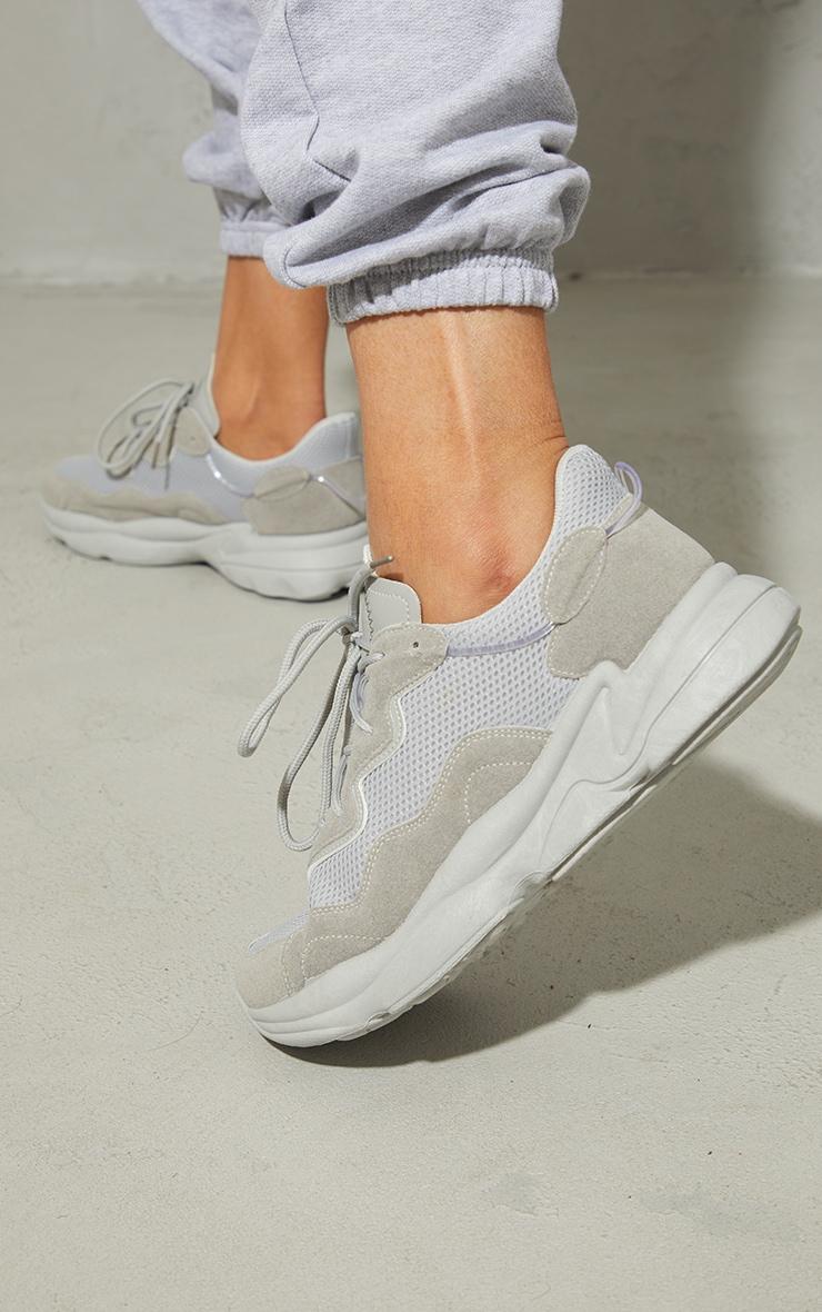 Baskets grises partie contrastante en mesh à lacets et semelle coussin d'air 2