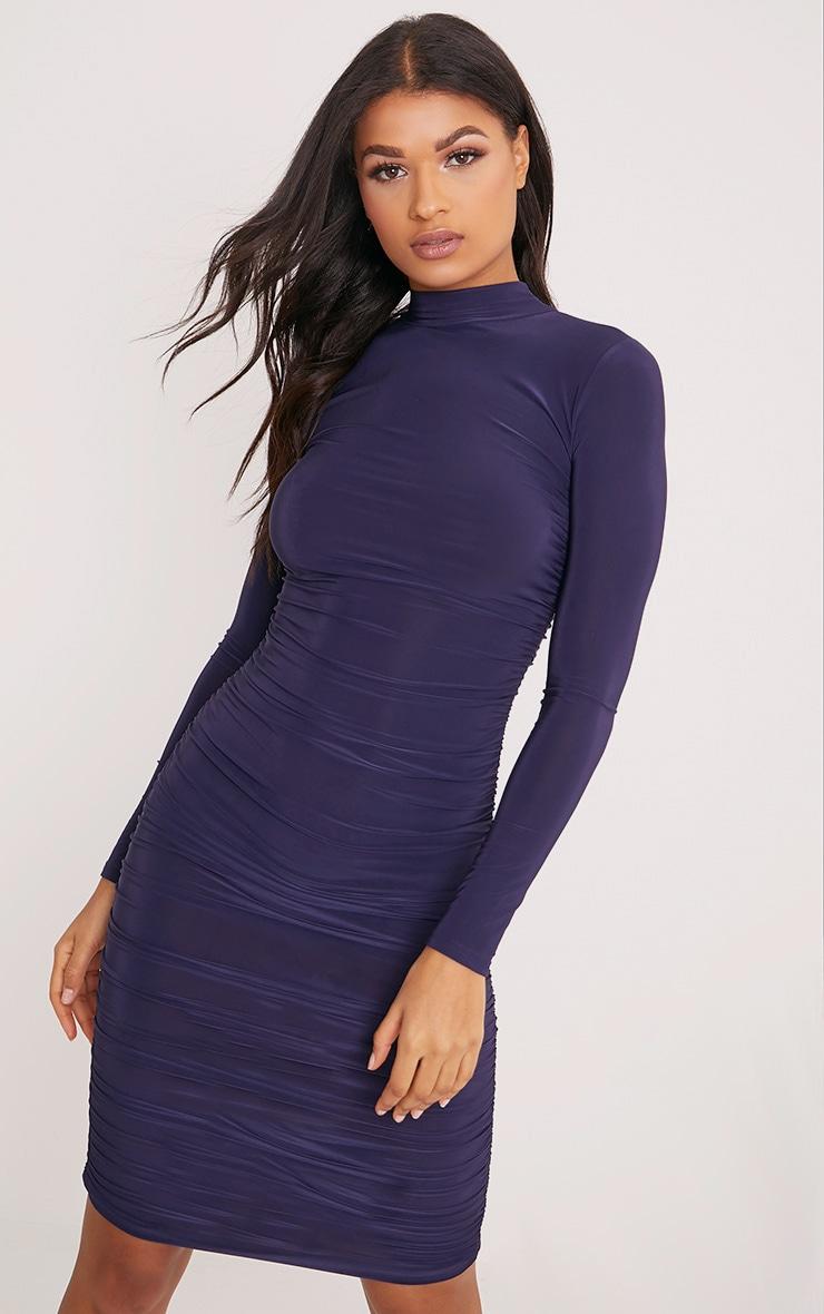 Niyah Navy Slinky Ruched Midi Dress 2
