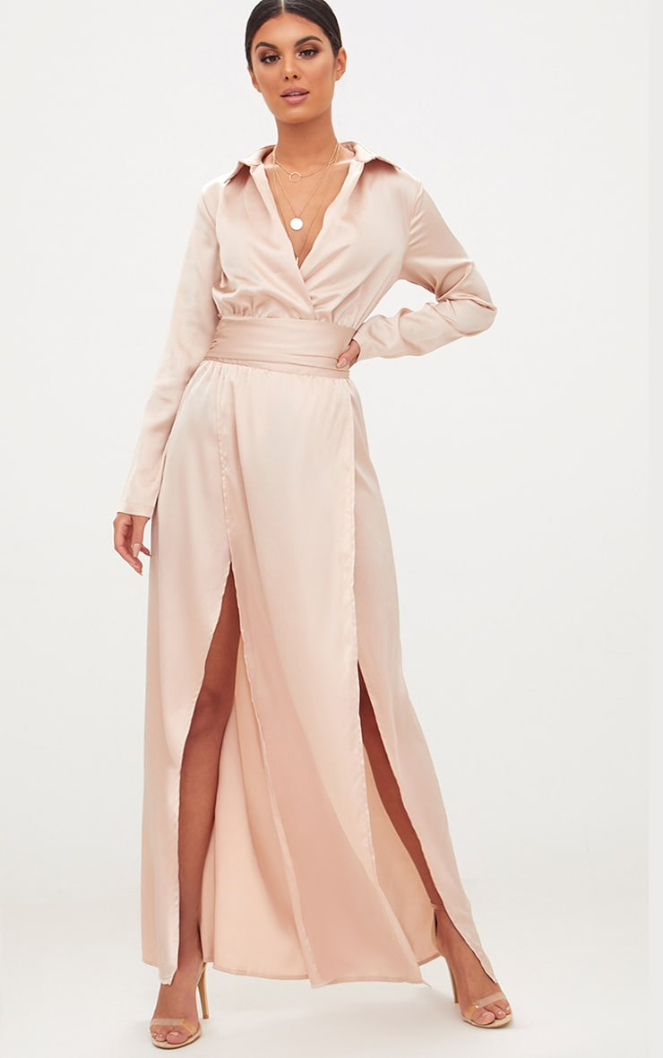 Champagne Long Sleeve Satin Belt Detail Maxi Dress 1