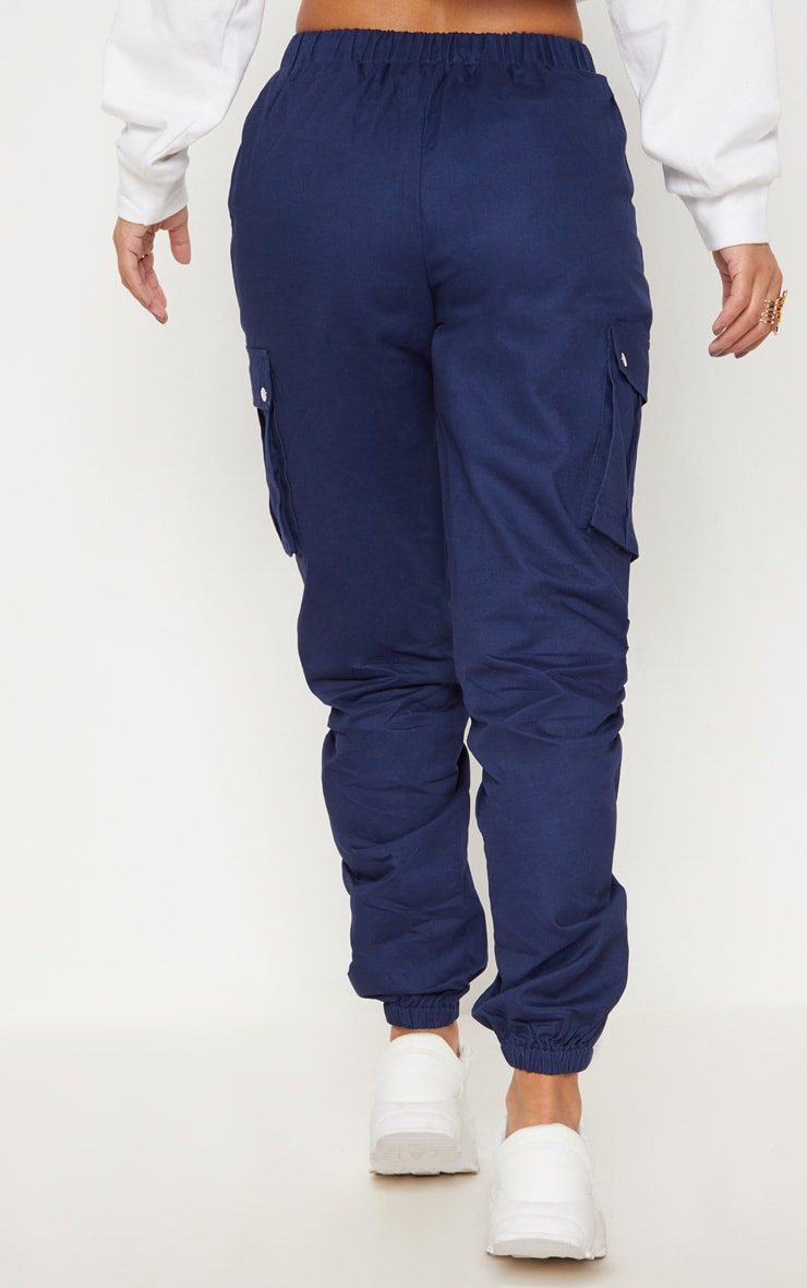 Petite Navy Pocket Detail Cargo Trousers 4
