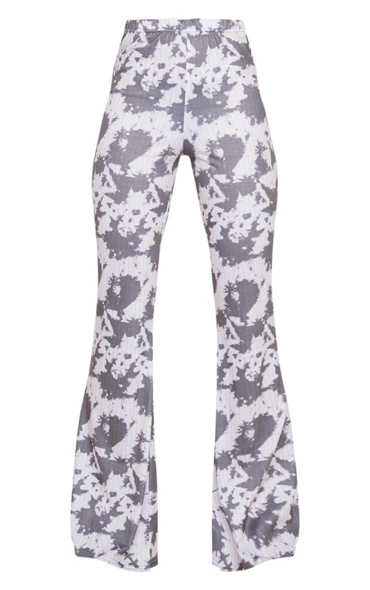 Grey Bleached Pinstripe Print Flare Leg Pants 5