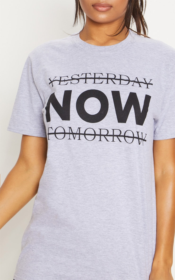 Grey Marl Yesterday Now Tomorrow Active T Shirt  5