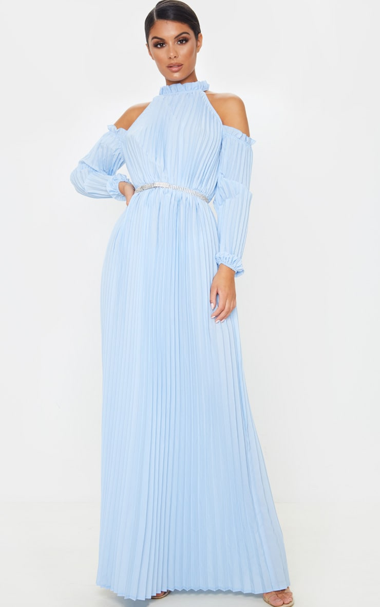 Dusty Blue Pleated Cold Shoulder Maxi Dress 4