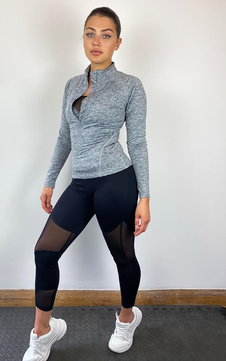 Grey Half Zip Gym Top 3