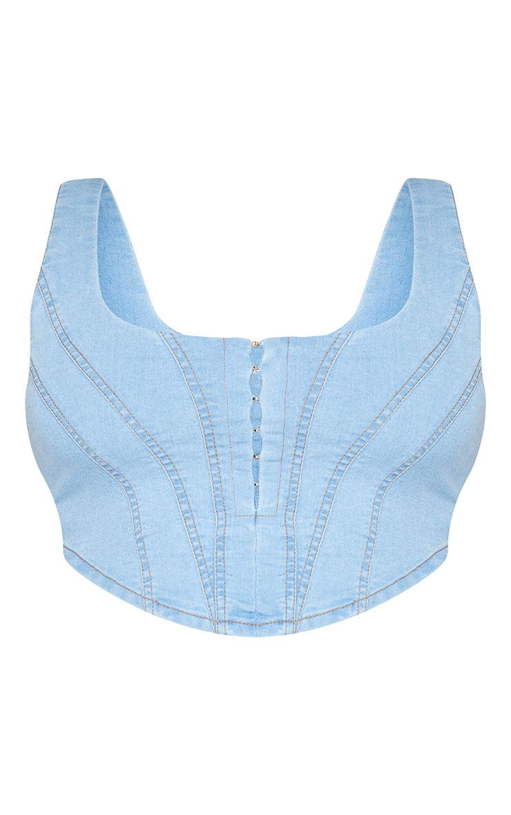 Plus Light Blue Wash Denim Hook And Eye Corset Crop Top 5