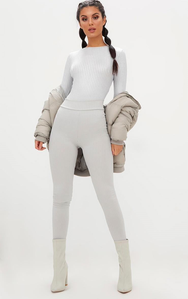 Silver Ribbed Metallic High Neck Thong Bodysuit 5