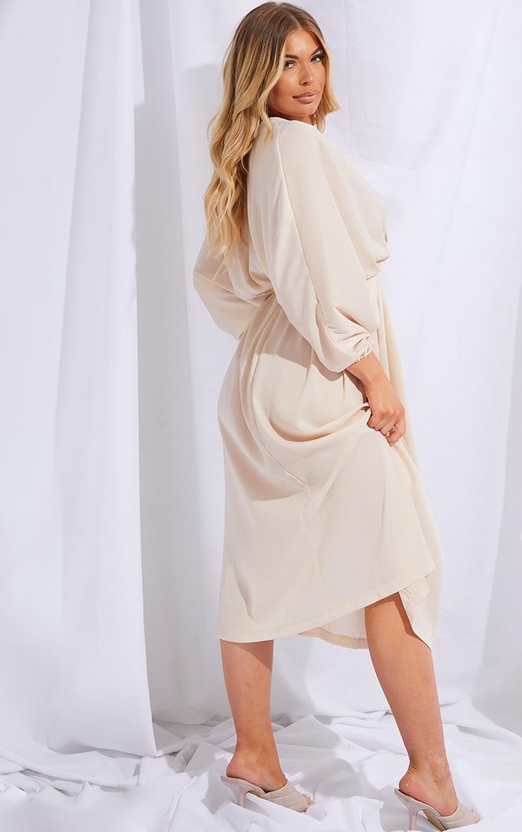Stone Tie Waist Detail Batwing Sleeve Midi Dress 2