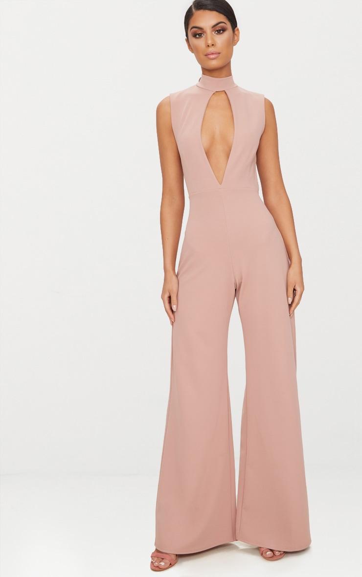 Pink Crepe Sleeveless Keyhole Wide Leg Jumpsuit 1