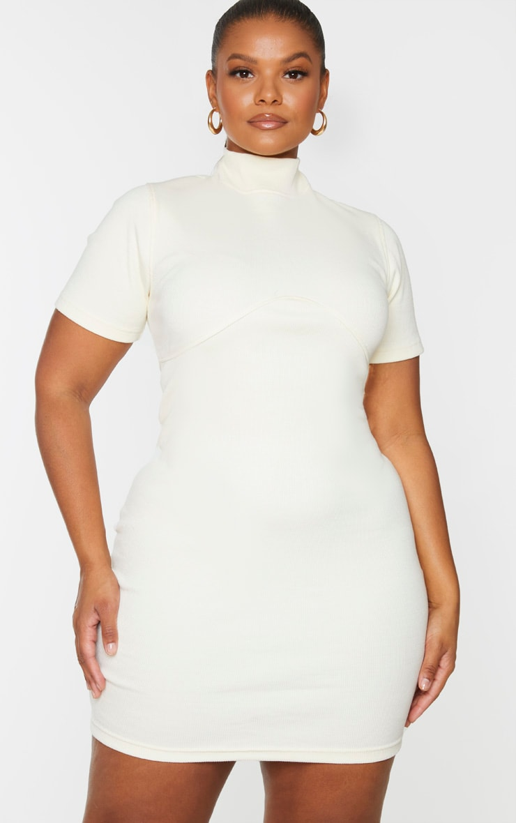 Plus Cream Thick Rib Bust Detail Bodycon Dress 3