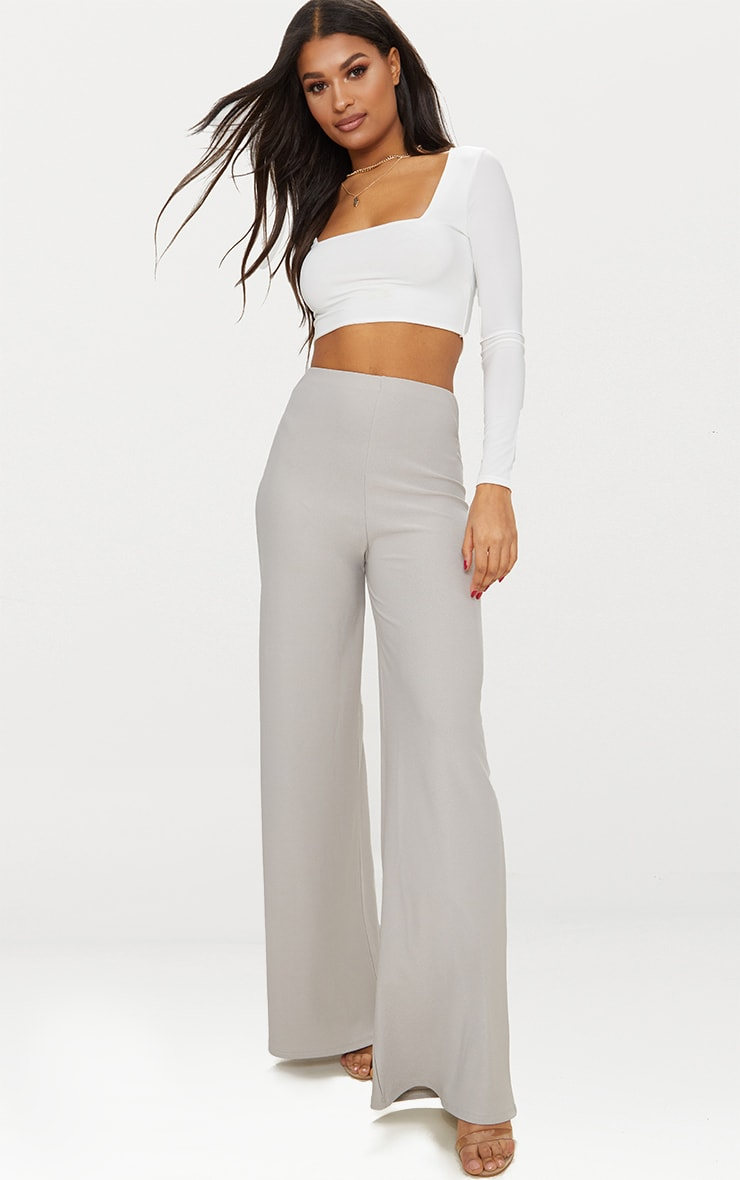 Grey High Waisted Wide Leg Trousers 1