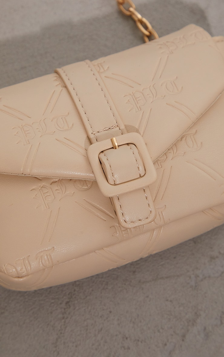PRETTYLITTLETHING Cream Gothic Embossed Mini Cross Body Bag 4