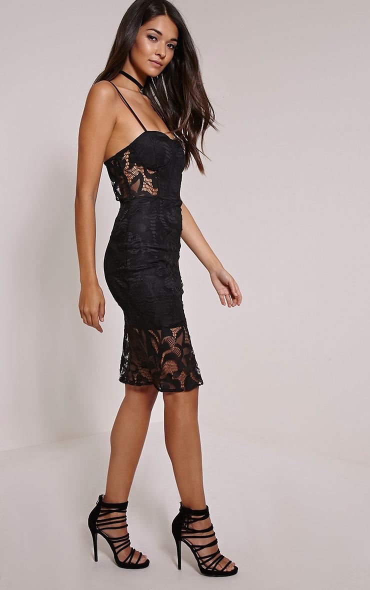 Samia Black Lace Midi Dress 1