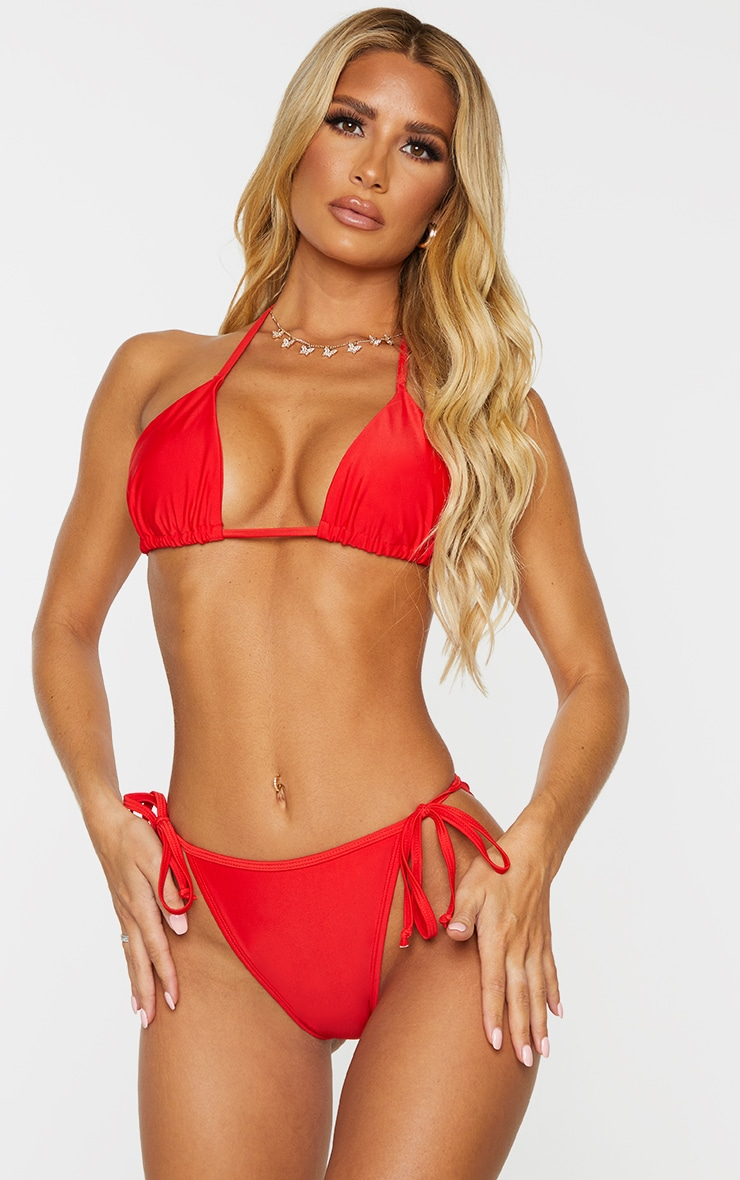 Red Mix & Match Recycled Fabric Triangle Bikini Top 1