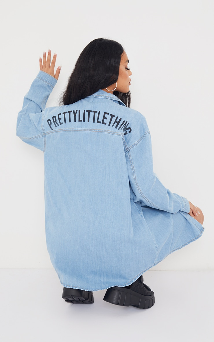 PRETTYLITTLETHING Light Blue Wash Printed Lightweight Denim Shirt