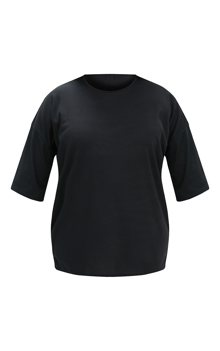 Plus Black Ribbed Oversized Tee 3