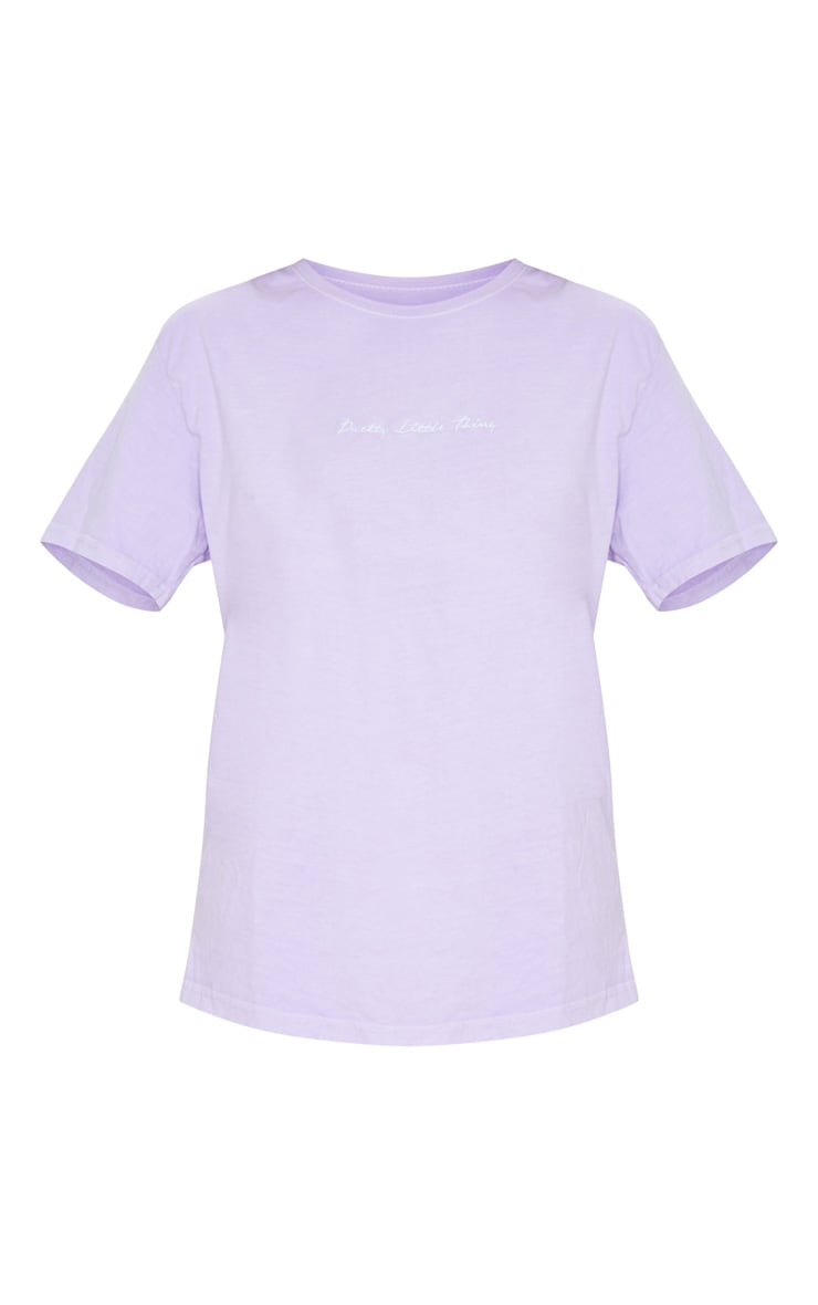 PRETTYLITTLETHING Lilac Embroidered Wash T Shirt 5