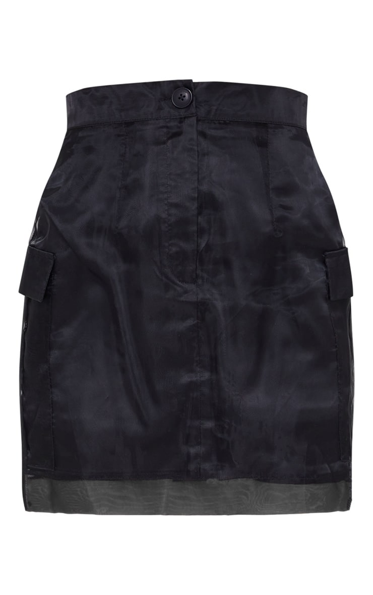 Black Organza Pocket Detail Mini Skirt 5