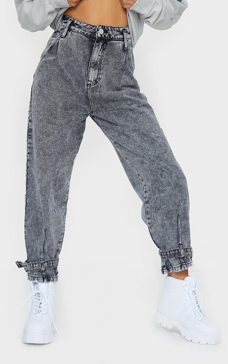 Washed Black Strap Detail Mom Jeans 2